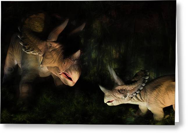 Triceratops Greeting Card by Lori Deiter