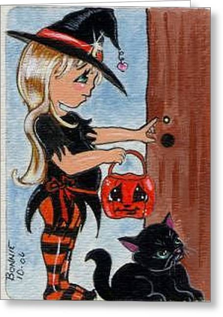 Trick Or Treat Greeting Card by Bonnie Brewer