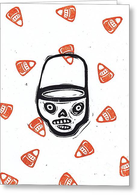 Trick Or Treat Candy Corn Skull Greeting Card