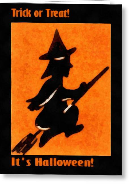 Trick Or Treat Flying Witch Greeting Card