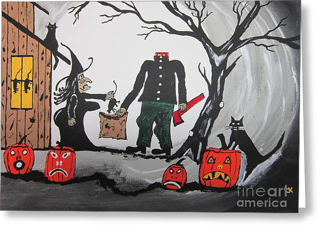 Trick Or Treat. Greeting Card by Jeffrey Koss
