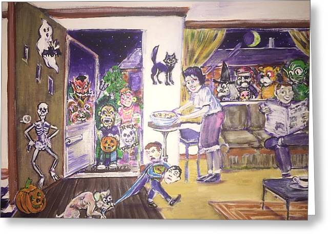 Trick Or Treat On Exeter Street Greeting Card