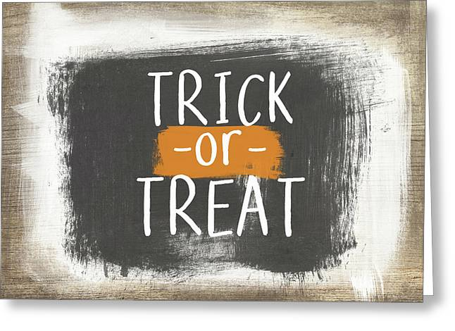 Trick Or Treat Sign- Art By Linda Woods Greeting Card by Linda Woods