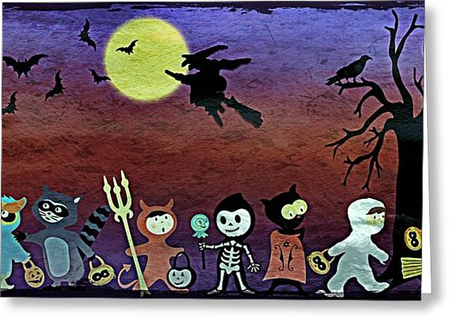 Trick Or Treaters - Grunge Greeting Card by Steve Ohlsen