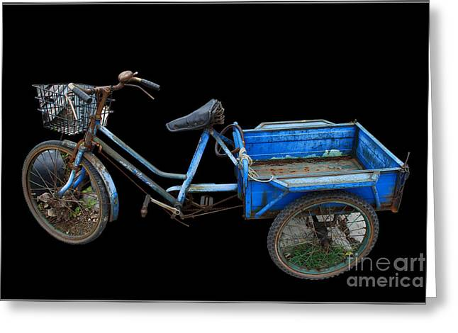Tricycle In Blue Greeting Card by Ty Lee