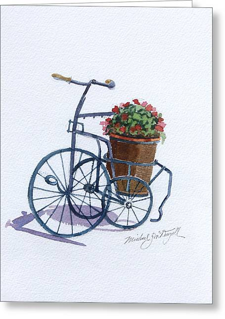 Tricycle With Flowers Greeting Card