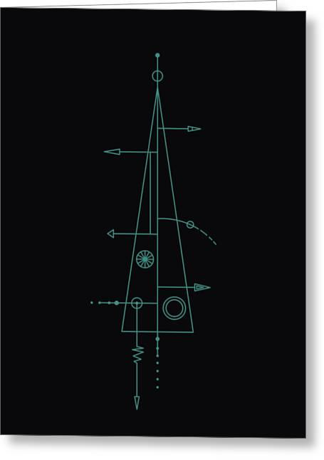 Trigonal On Black Greeting Card by IaPo
