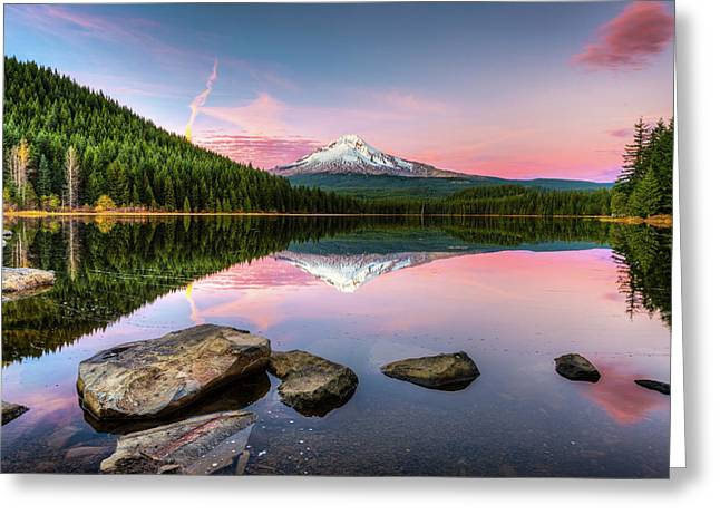 Trillium Lake Reflection Greeting Card