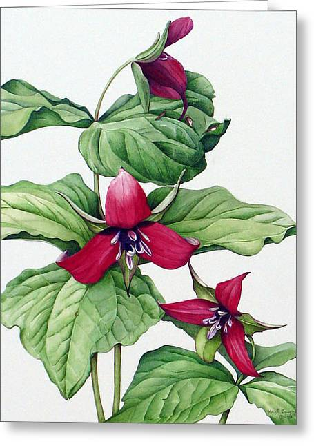Greeting Card featuring the painting Trillium Trio by Margit Sampogna