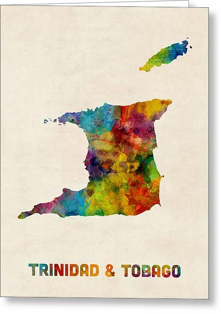 Trinidad And Tobago Watercolor Map Greeting Card