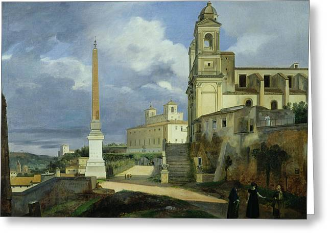 Trinita Dei Monti And The Villa Medici In Rome Greeting Card by Francois Marius Granet