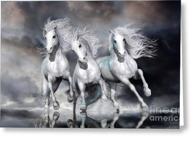 Greeting Card featuring the digital art Trinity Galloping Horses Blue by Shanina Conway