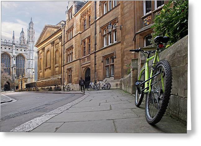 Trinity Lane Clare College Cambridge Great Hall Greeting Card by Gill Billington