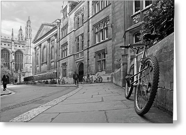 Trinity Lane Clare College Great Hall In Black And White Greeting Card by Gill Billington