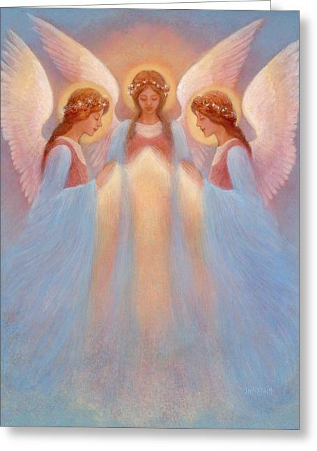 Trinity Of Angels Greeting Card by Jack Shalatain