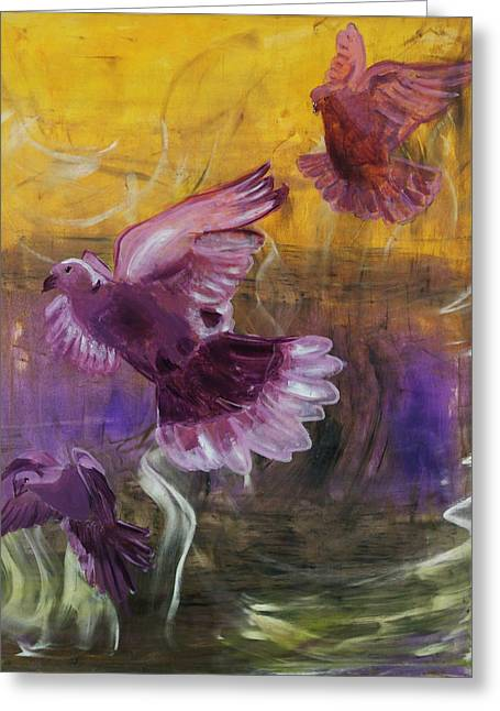Trinity Of Contemporary Flying Dove Birds In Yellow Purple And Blue Greeting Card