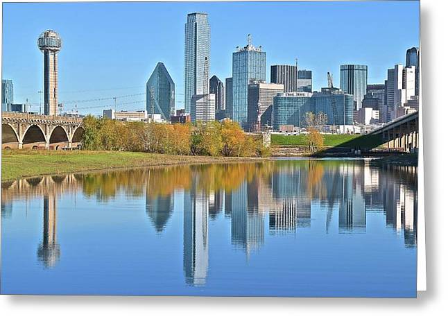 Trinity River View Of Dallas Greeting Card by Frozen in Time Fine Art Photography