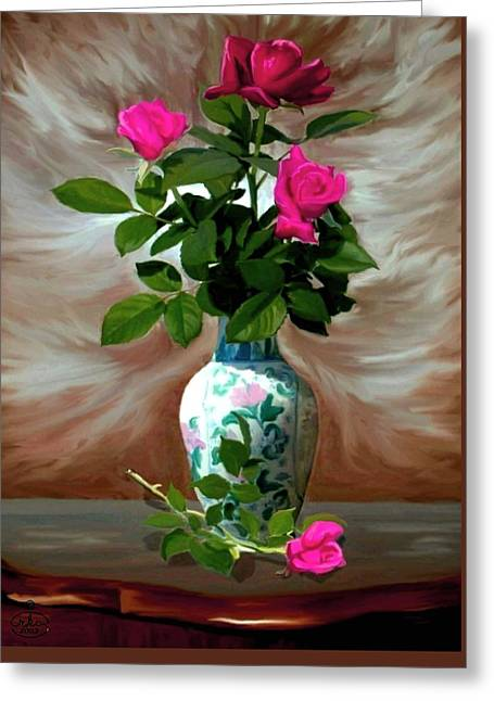Trinity Roses Greeting Card by Ron Chambers