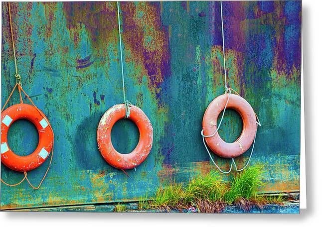 Trio Of Life Buoys Greeting Card