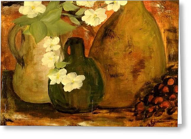 Trio Vases Greeting Card by Kathy Sheeran