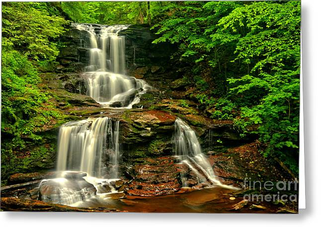 Triple Cascades At Tuscarora Greeting Card by Adam Jewell