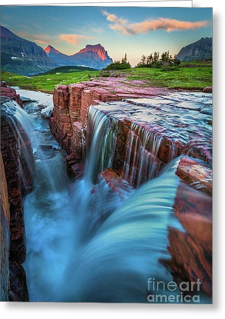 Triple Falls Dusk Greeting Card