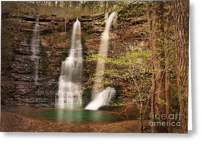 Triple Falls Landscape Greeting Card by Tamyra Ayles