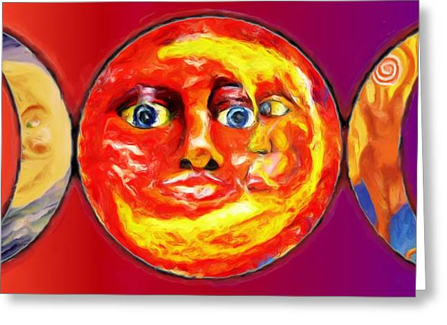 Greeting Card featuring the painting Triple Goddess by Shelley Bain