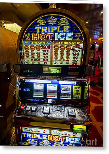 Triple Hot Ice Slot Machine At Lumiere Place Casino Greeting Card by David Oppenheimer