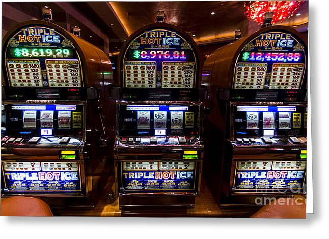 Triple Hot Ice Slot Machines At Lumiere Place Casino Greeting Card by David Oppenheimer