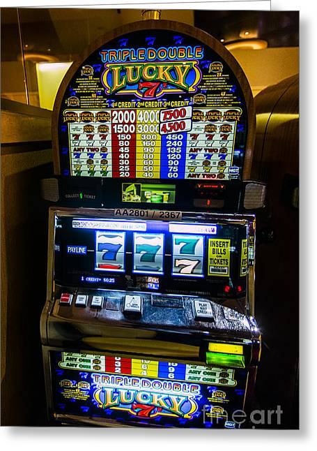 Triple Lucky 7s Slot Machine At Lumiere Place Casino Greeting Card by David Oppenheimer