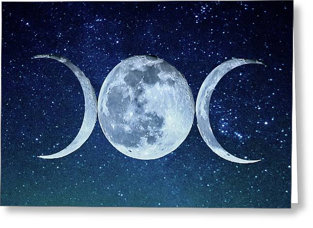 Triple Moon Milkyway Greeting Card