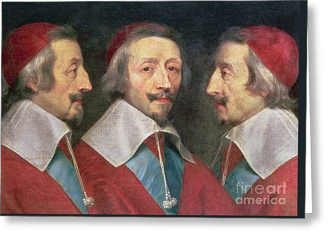 Triple Portrait Of The Head Of Richelieu Greeting Card