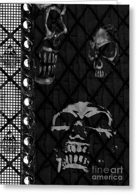 Triple Skulls Greeting Card by Roseanne Jones