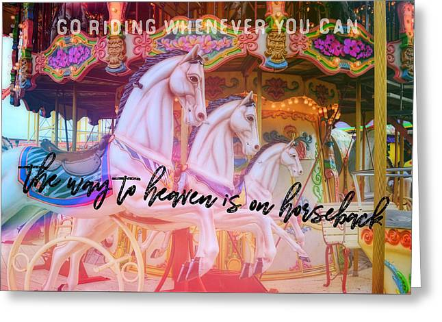 Greeting Card featuring the photograph Triple Threat Quote by Dressage Design
