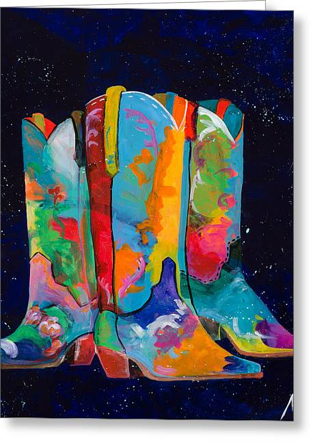 Cowgirl Boots Greeting Cards - Triple Threat Greeting Card by Tracy Miller