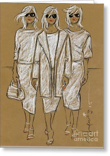 Triplets Greeting Card by P J Lewis