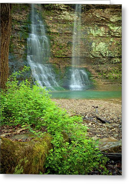 Tripple Falls In Springtime Greeting Card by Iris Greenwell