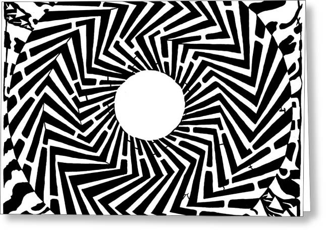 Trippy Optical Illusion Swirly Maze  Greeting Card by Yonatan Frimer Maze Artist