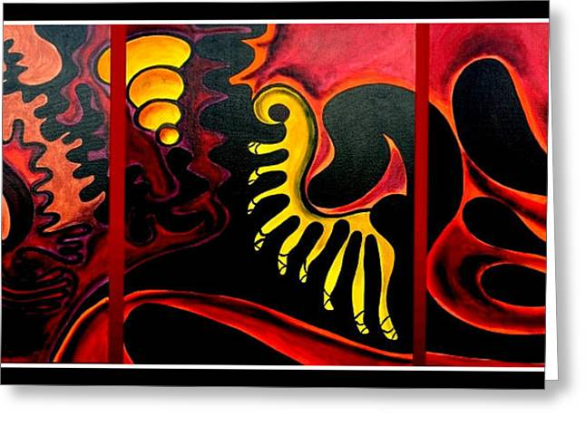 Greeting Card featuring the painting Triptych Abstract Vision by Jolanta Anna Karolska