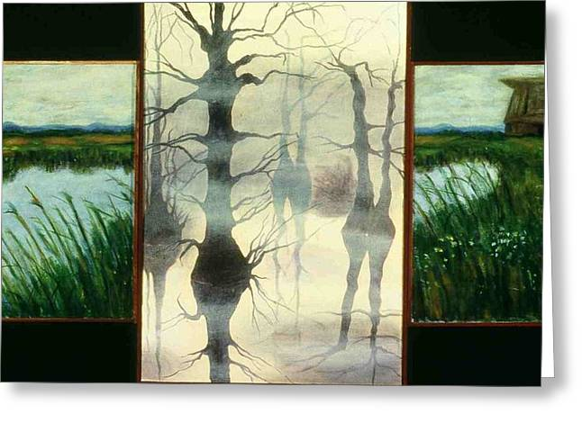 Triptych Greeting Card by Helen O Hara