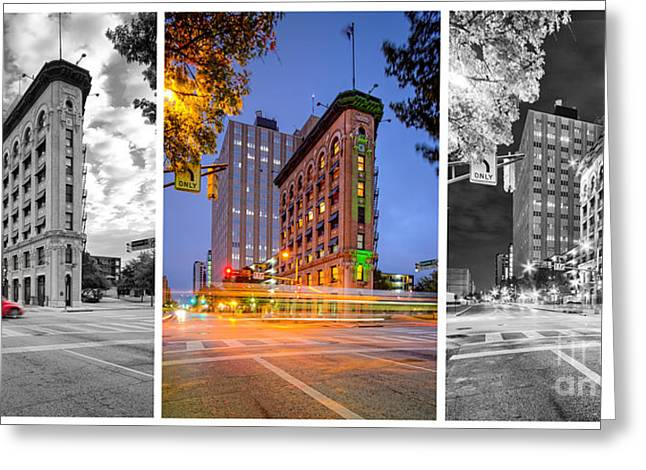 Triptych Of The Flatiron Building In Downtown Fort Worth - Texas  Greeting Card by Silvio Ligutti