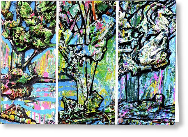 Triptych Of Three Trees By A Brook Greeting Card by Genevieve Esson