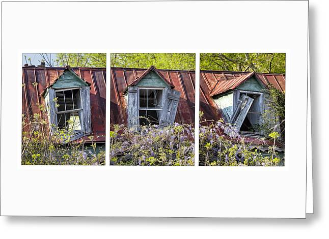 Triptych Windows Greeting Card