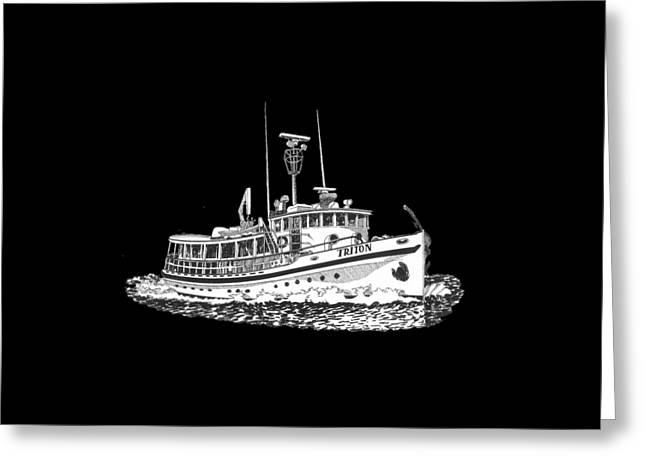 Triton 88 Foot Fantail Yacht Greeting Card by Jack Pumphrey