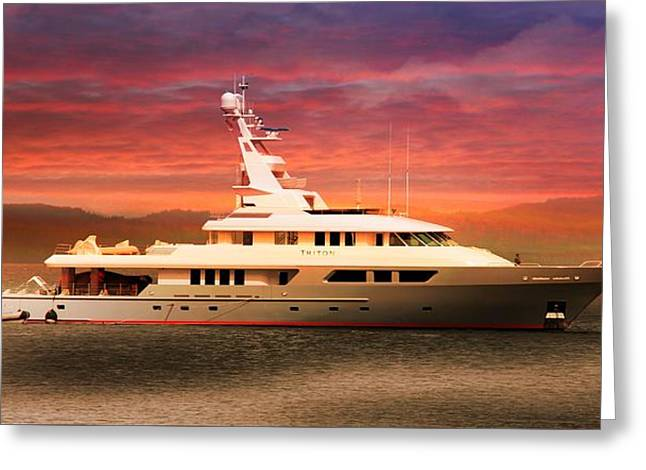 Greeting Card featuring the photograph Triton Yacht by Aaron Berg