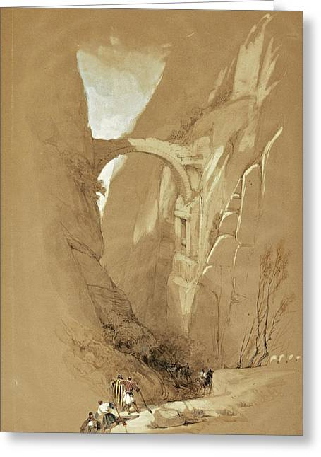 Triumphal Arch Crossing The Ravine Leading To Petra. Jordan Greeting Card