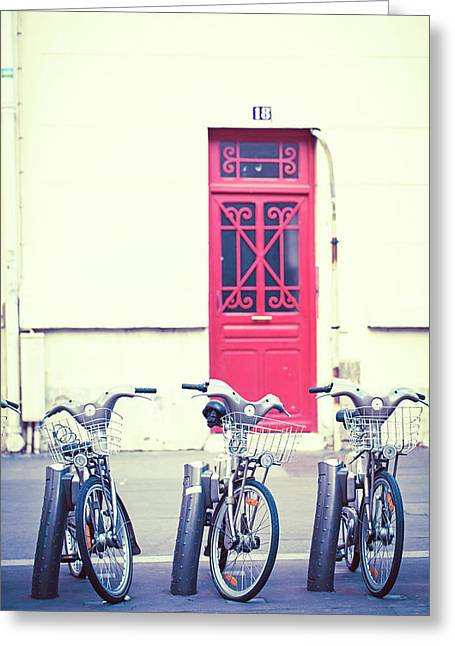 Greeting Card featuring the photograph Trois - Three Bicycles In Paris by Melanie Alexandra Price