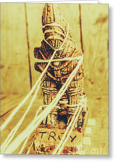 Trojan Horse Wooden Toy Being Pulled By Ropes Greeting Card by Jorgo Photography - Wall Art Gallery