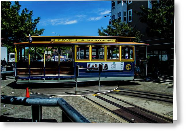 Trolley Car Turn Around Greeting Card